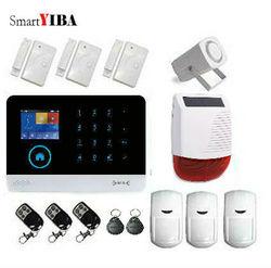 SmartYIBA bezprzewodowy GSM RFID WIFI bezpieczeństwa w domu system antywłamaniowy zestaw z energii słonecznej syreny okna drzwi czujnik ruchu PIR aplikacji