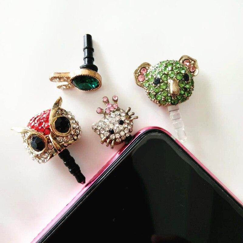 Universal 3.5mm Diamond Dust Plug Mobile Phone Accessories Gadgets Earphone Enchufe del Polvo Plugs For iPhone 6 6s Luxury 5pcs