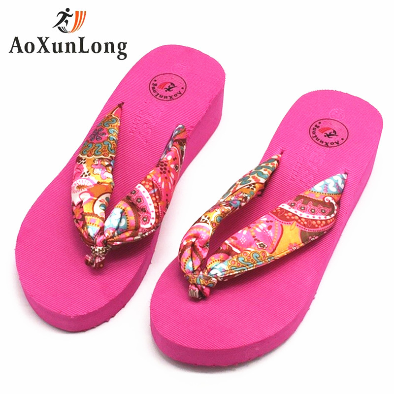Summer Women Slippers Bohemia Fashion Flip Flops Women Height increase Wedge Flat Shoes 6 colors Home Slide Flip Flop Size 36-39