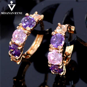 MISANANRYNE Gold Color Jewelry Zircon CZ Crystal Hoop Earrings for Women Luxury Wedding Bridal Jewelry Earring Nice Shipping