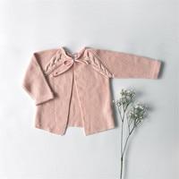 Enfants Cardigan Chandails Solide Couleur Rose Vert Ceinture Doux Filles Cardigan Coton Bébé Cardigan Automne Hiver Vêtements Pour Enfants