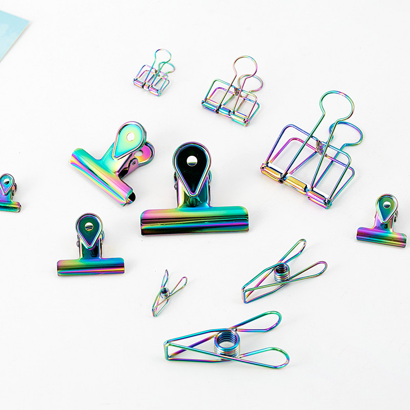 TUTU Laser Craft Metal Photo Rainbow Book Paper Clips Binder Decorative Office Organizer Accessories Stationary H0285