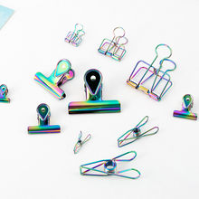 TUTU laser Craft Metal Photo rainbow Book Paper Clips Binder Decorative Office Organizer Accessories Stationary H0285(China)