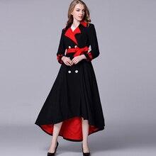 Luxury X-Long Coats 2017 Autumn Winter Fashion Women Double Breasted Red Belt Elegant Long Black Asymmetric Length Gothic Coat