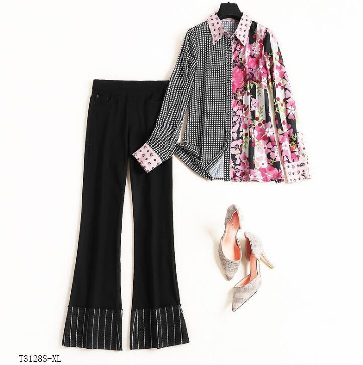 Mode Impression Casual Européen Costume Blouse Pantalon Color Photo T3128 Patchwork Femmes Style 2019 Nouveautés Vêtements Printemps Hiver 4X7wFq8wT