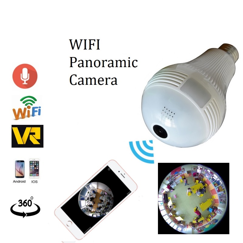 Panorâmica de 360 graus da câmera de 1.3MP 2.0MP wifi Sem Fio lâmpada olho de peixe Câmera de Segurança cctv Casa Inteligente 3D VR Lâmpada wi-fi câmera