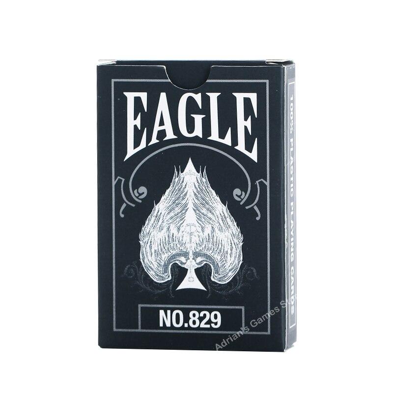 매직 이글 pvc 카드 놀이 블랙 플라스틱 포커 카드 카지노 갑판 방수 58*88mm