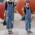 Denim Jumpsuit Mulheres 2016 Botão Calças Moda Jeans Macacões Casual Macacões Suspender Calças Das Mulheres calças de Brim Bodysuit Macacão