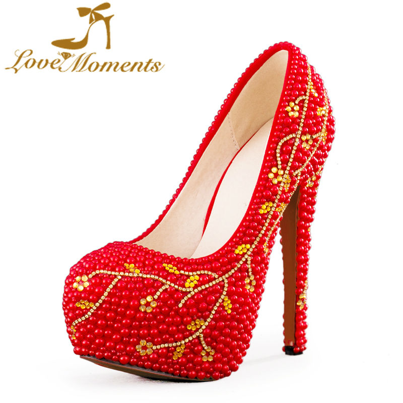 Love Moments Red Rhinestone Evening Party High Heels Handicraft Gorgeous Design Wedding Shoes Real leather Bridal Pumps Size 44