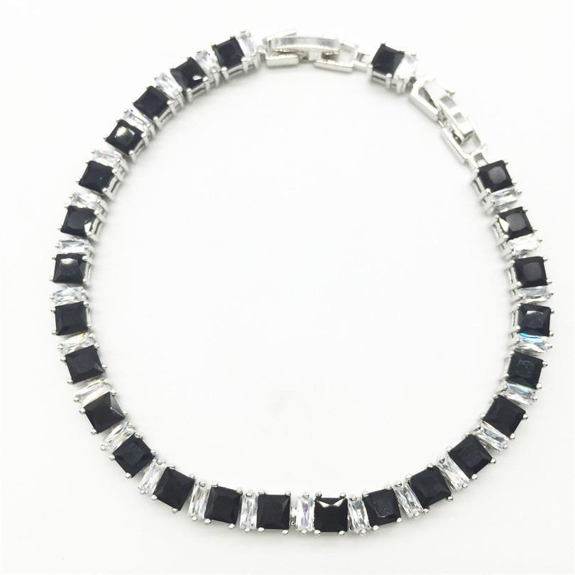 Joyería de plata geométrica negro blanco color mujeres Link cadena ...
