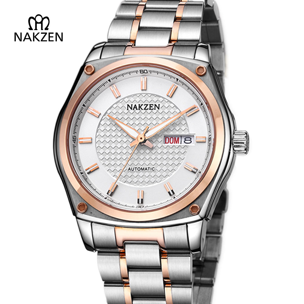 NAKZEN Men Steel Business Automatic Mechanical Watch Male Waterproof 50M Sports Watch Man Sapphire Fashion Clock mekanik saat nakzen men s automatic waterproof 50m watch man steel business dress mechanical clock male luxury sapphire diamond fashion watch