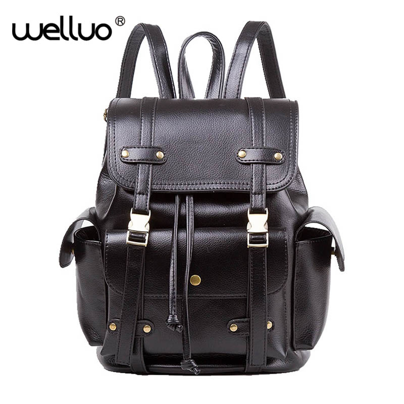 Vintage Leather Backpacks Women Men Preppy Style Drawstring Buckle Backpack for Teenage Girls Rucksack School Bag Brown XA864B