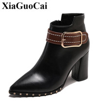 цены Winter Shoes Women Boots Fur Warm Fleeces Thick High Heels Pointed Toe Ankle Boots with Rivet Belt Decor Side Zip Euro Stylish