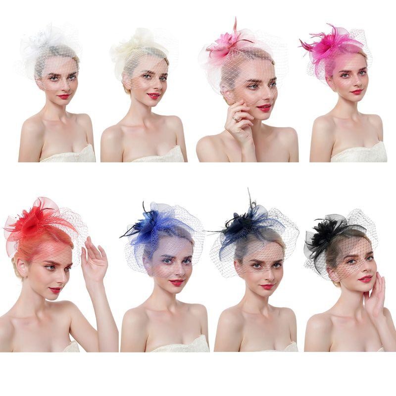 European Fascinators Hat Ladies Flower Bowknot Mesh Feathers Tea Party Vintage Banquet  Party Veil Duckbill Bridal Headwear