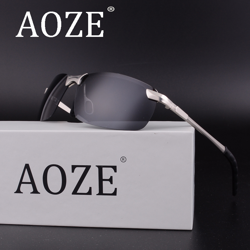 Hot sale AOZE Luxury Goggles Polarized Men/women Brand sport Driving Sunglasses Classic alloys UV400 Rimless eyeglasses Oculos ...