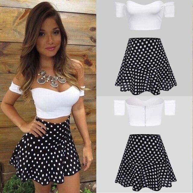 Summer New Women Polka Dot Aline mini Skirt + Strapless Off Shoulder Crop  Tops Sets white