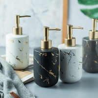 High-grade matte marble pattern bathroom dispenser soap bottle toilet ceramic lotion sanitizer foam pump liquid holder