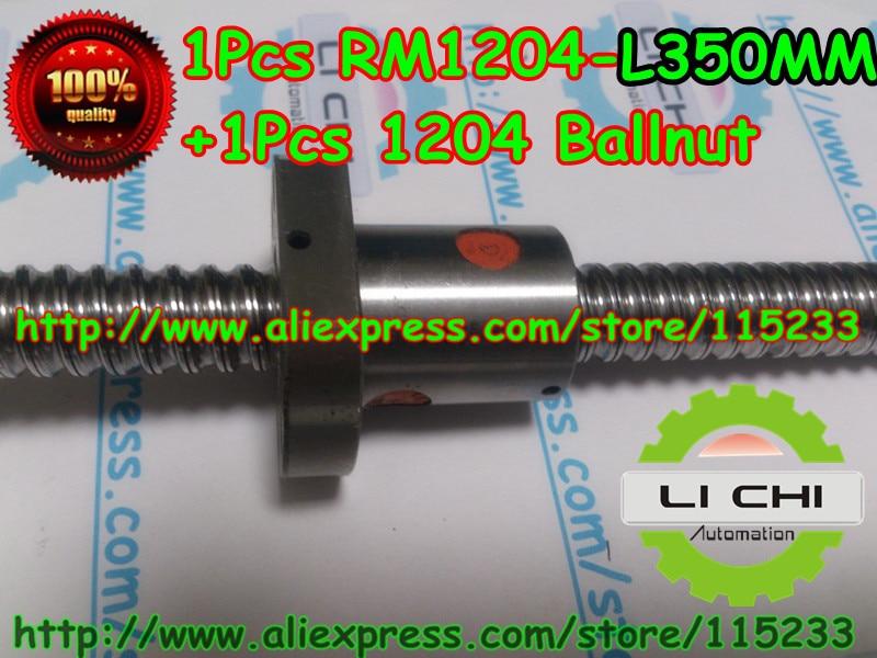 ФОТО Top best price 1pcs Ball screw SFU1204 - L350mm+ 1pcs RM1204 Ballscrew Ballnut for CNC and BK10 / BF10 standard processing