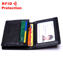 New Arrival Genuine Cow Leather Card Holder Men Business RFID Wallet Travel ID Credit Card Holder Top Brand Men Small Purse R18(China)