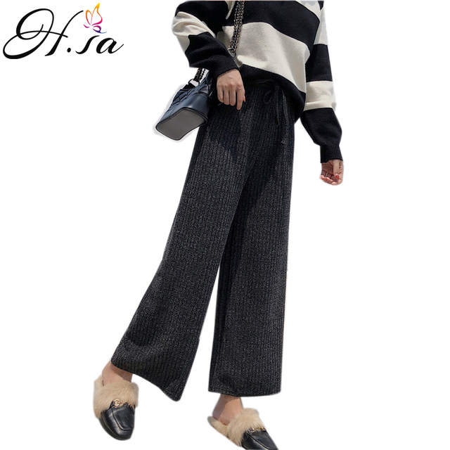 9fcc407dce H.SA 2018 Autumn Winter Women Wide Leg Pants Tied Waist Casual Trousers  Black Grey Beige Casual Ninth pleated pants