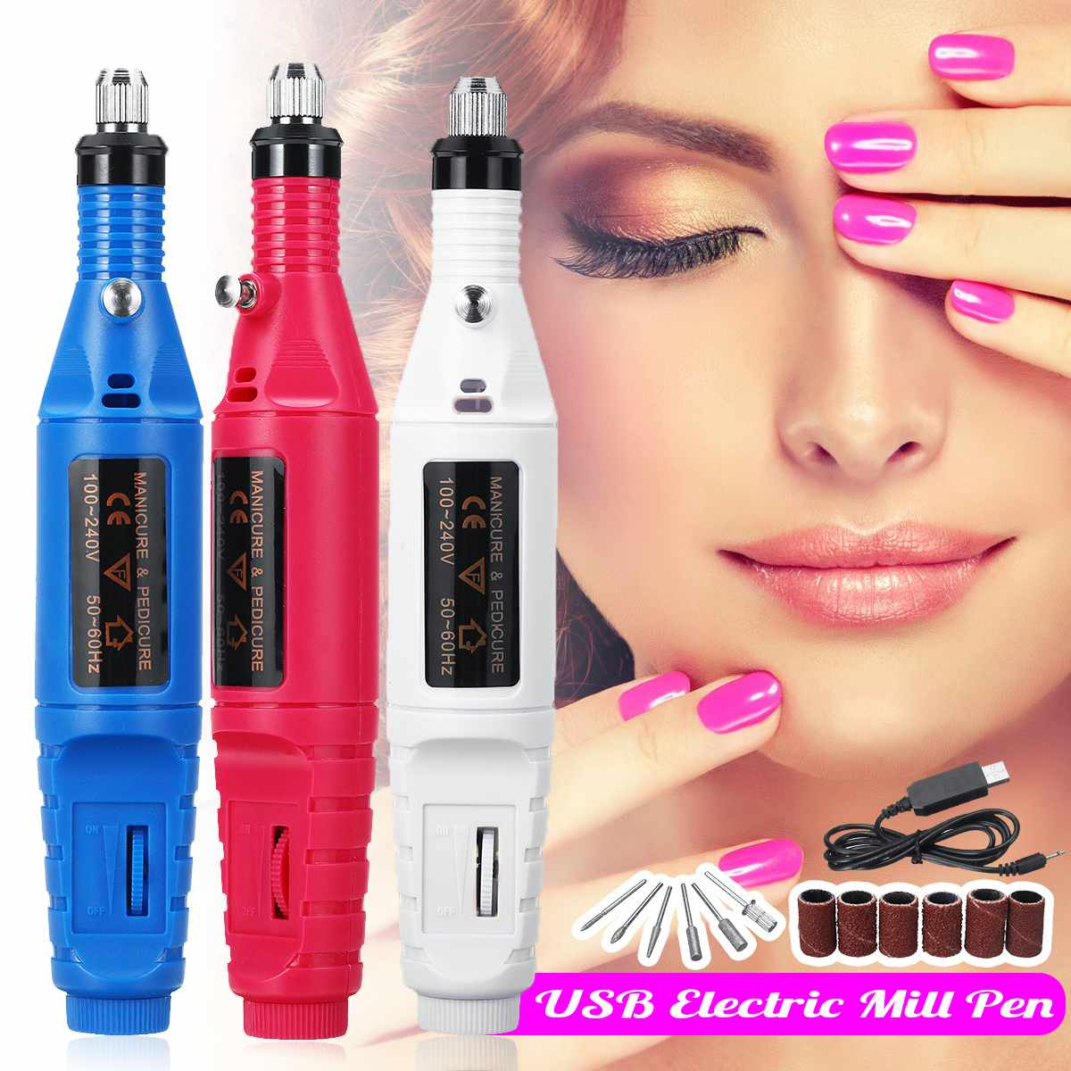 DIY Nail Brushes Or Wooden Working Carving Mini USB Electric Engraving Grinder Pen Nail Drill Set Pedicure Manicure File Machine