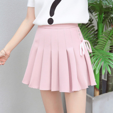 купить Girls tennis skirt pleated skirt female straps tie bow skirt wild student cheerleading skirt college wind в интернет-магазине