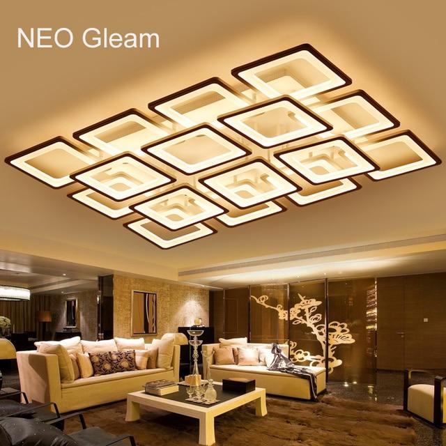 NEO Gleam Rechteck Fernbedienung Wohnzimmer Schlafzimmer Moderne Led Deckenleuchten Luminarias Para Sala Dimmen