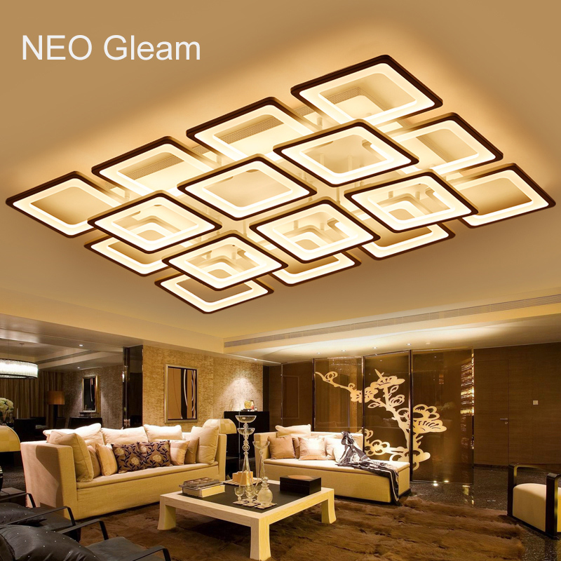 Buy neo gleam rectangle remote control for Modern living room ceiling lights