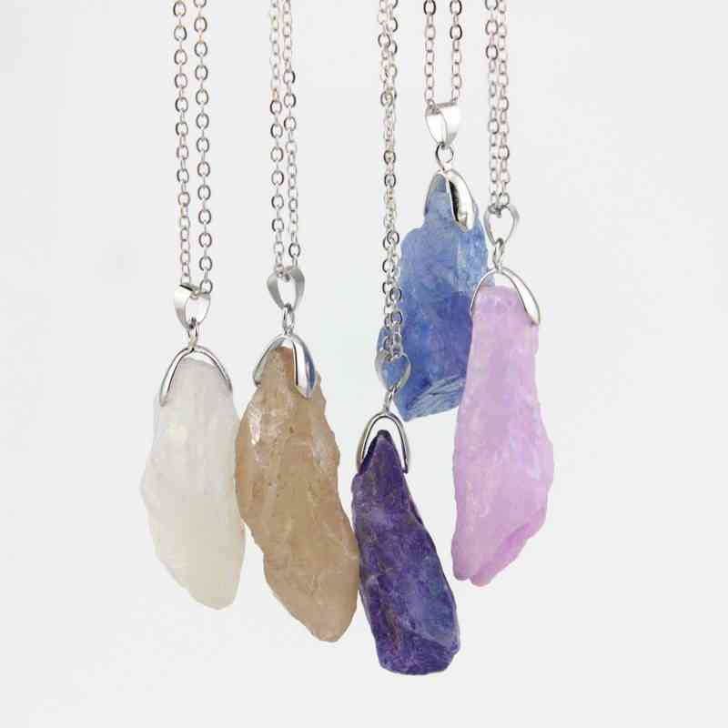 2018 Fashion Silver Chain Crystal Original Drusy Natural Stone Pendant Necklace Women Jewelry Long Selenite Druzy Necklace