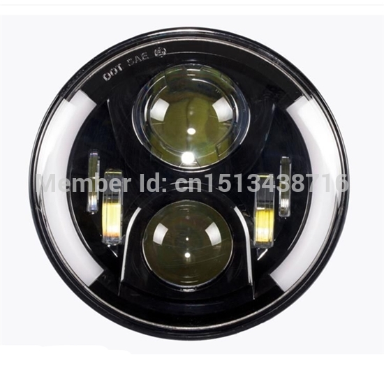 New Harley Motorcycle Round H4 High Low 7 LED Headlight with White DRL Halo Angle Eyes 2pcs 2017 new design 7 inch 40w motorcycle led auto angel eyes led headlight bulb with high quality