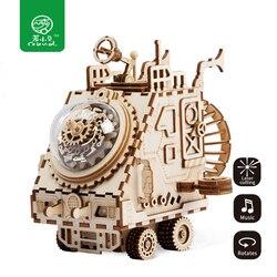 Robud творческий DIY 3D космический корабль игра деревянная головоломка сборки музыкальная шкатулка игрушка подарок для детей подростков взрос...