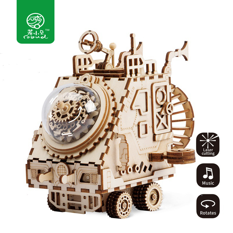 Robud Creative DIY 3D Spaceship Wooden Puzzle Game Assembly Music Box Toy Gift for Children Teens