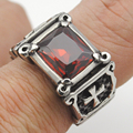 Black/Red Stone Rings Unisex Gothic Punk Men & Women 2015 Stainless Steel Cross Jewelry Free Shipping VR290