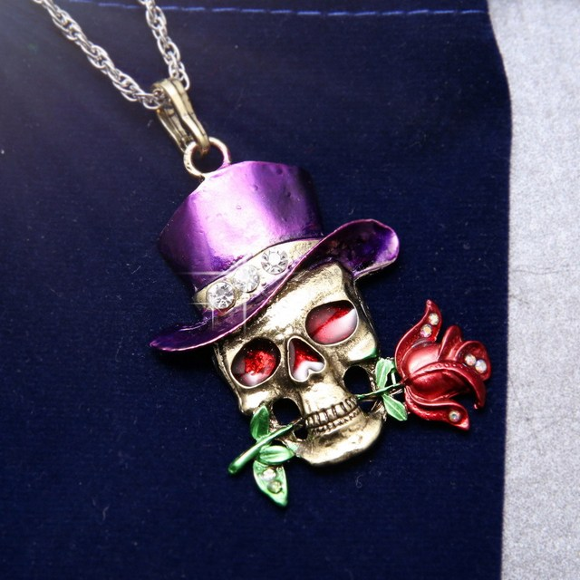 FLOWER SKULL HEAD NECKLACE (4 VARIAN)