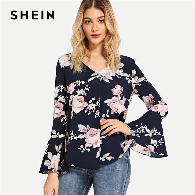 44c756b0b2ecb SHEIN Navy Floral Print Bell Sleeve Blouse Casual Elegant V Neck Flounce Sleeve  Blouses Women Autumn Bohemian Shirt Tops