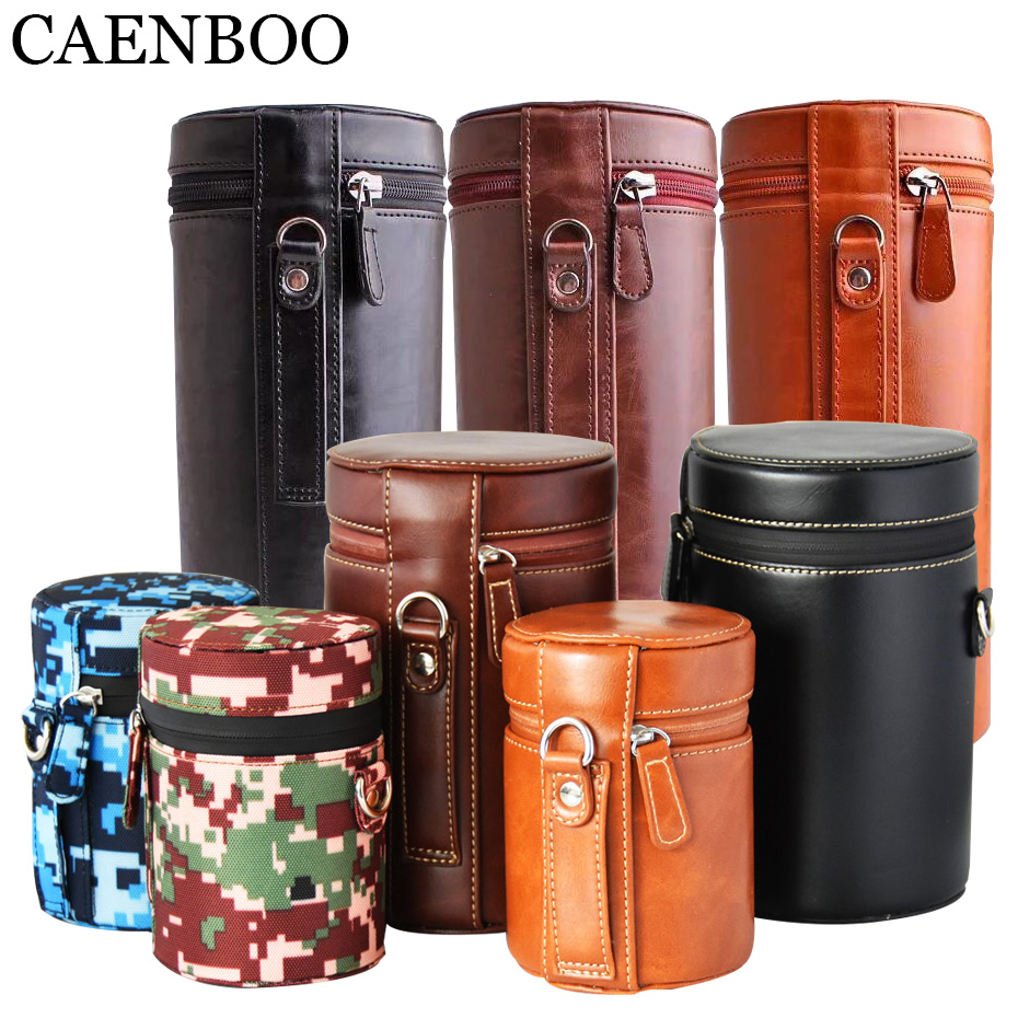 CAENBOO Lens Bag Retro Hard PU Leather Lens Case for Canon Nikon Sony Pentax Fujifilm Tamron Sigma Pouch Protector Universal