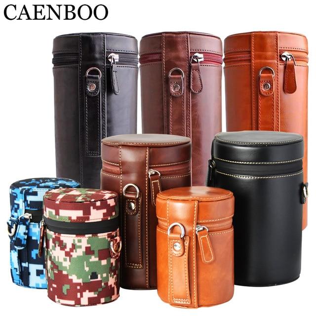 CAENBOO – sac à lentilles rétro dur en cuir PU, étui pour Canon, Nikon, Sony, Pentax, Fujifilm, Tamron, Sigma, pochette de protection universelle