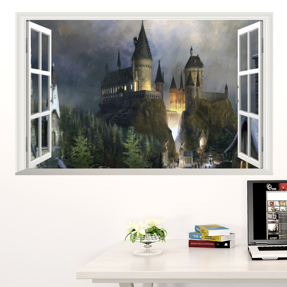 Generic 3D Windows Harry Potter Hogwarts Magic School Castle Living Room  Kids Bedroom Decorative Wall Decal. Popular Harry Potter 3d Buy Cheap Harry Potter 3d lots from China