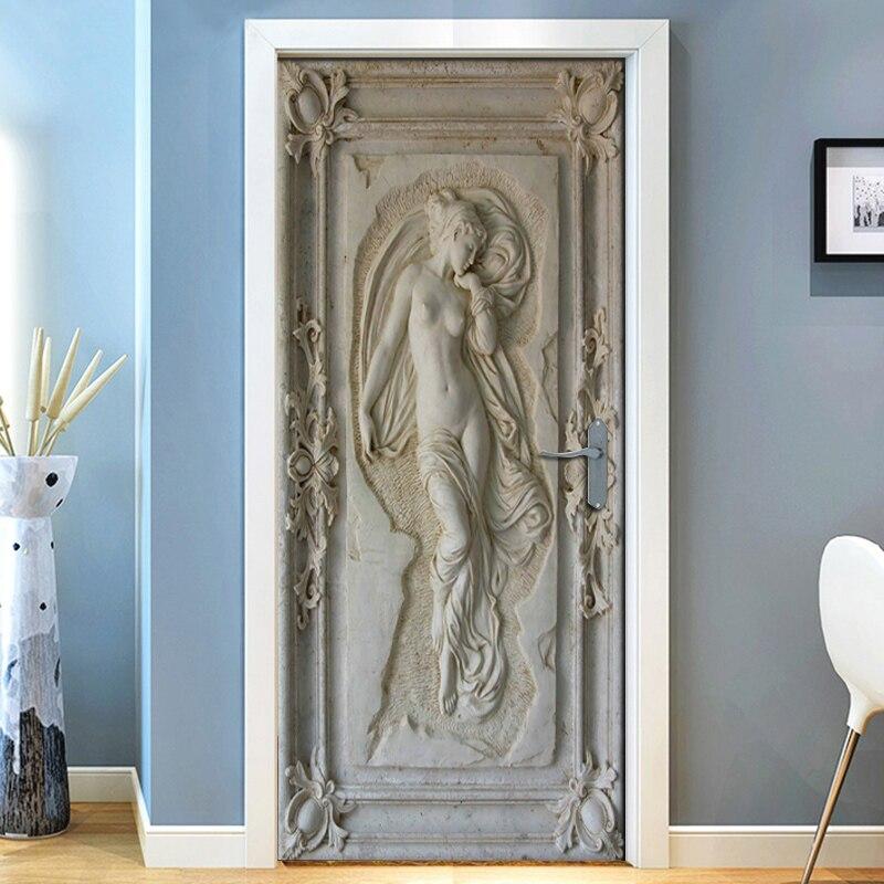 3D Three-dimensional Art Relief Angel Nude Statue Mural Wall Living Room Bedroom Door Self Adhesive Vinyl 3D Wall Paper Fresco