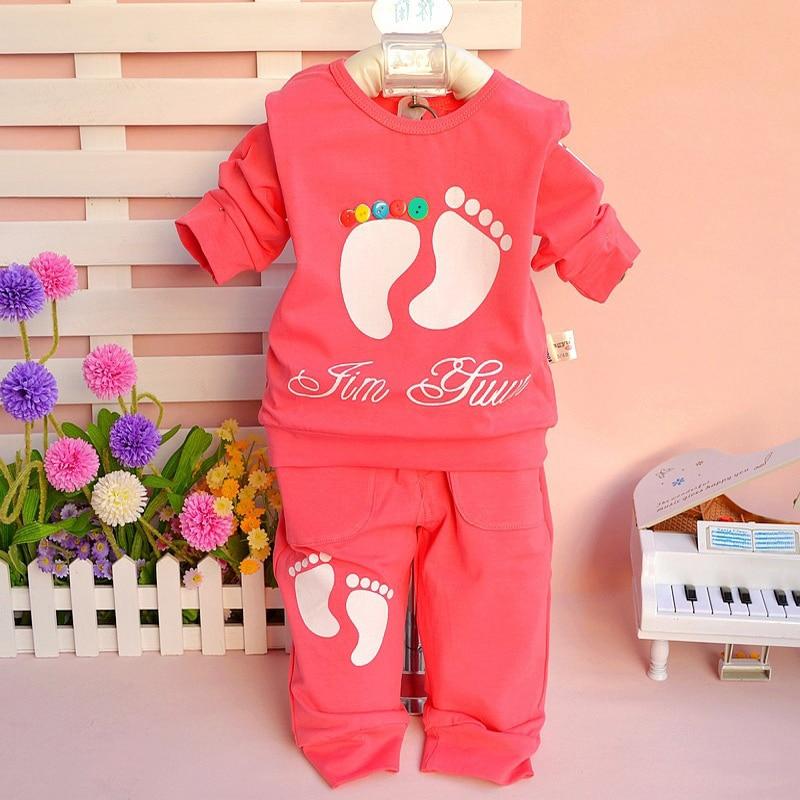 New Autumn Spring baby girls boys clothes set, T-shirt +pants 2pcs/set footmark or cat chldren clothes suits active 2pcs set baby clothes set boy