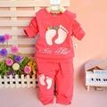 2017 New Autumn Spring baby girls boys clothes set, T-shirt +pants 2pcs/set footmark or cat chldren clothes suits active