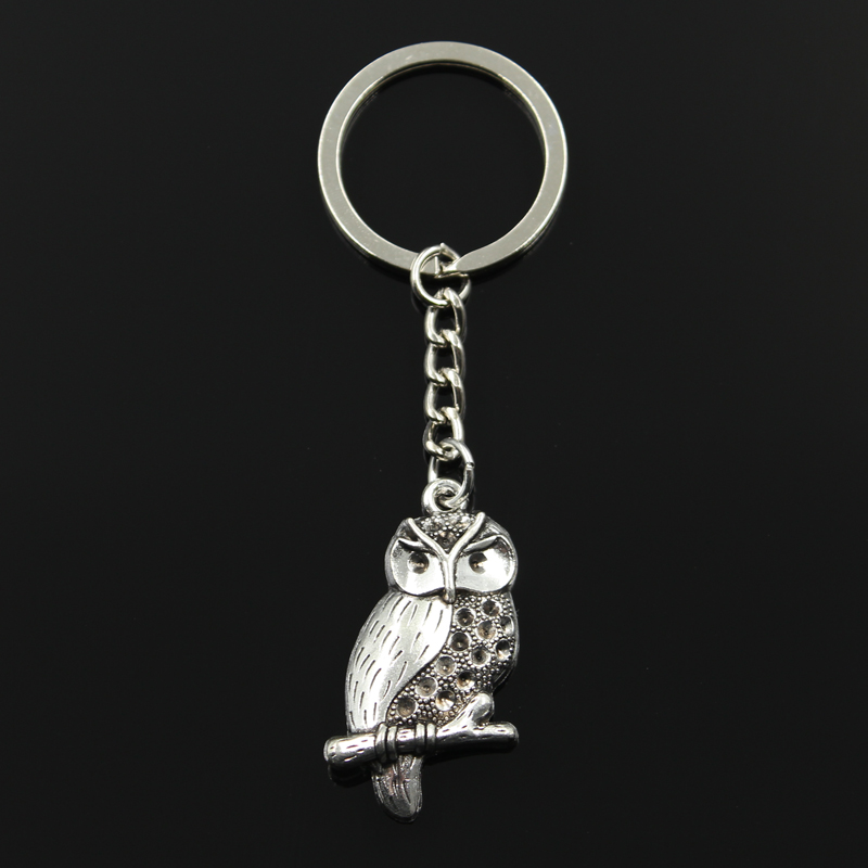 New Fashion Keychain 41x22mm Owl Pendants DIY Men Jewelry Car Key Chain Ring Holder Souvenir For Gift