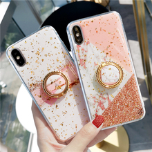 HERONSWING Gold Foil Marble Bling Phone Case For iPhone X 6s 7 8 Plus XS MAX XR pink Luxury marble epoxy Beauty Soft Cover