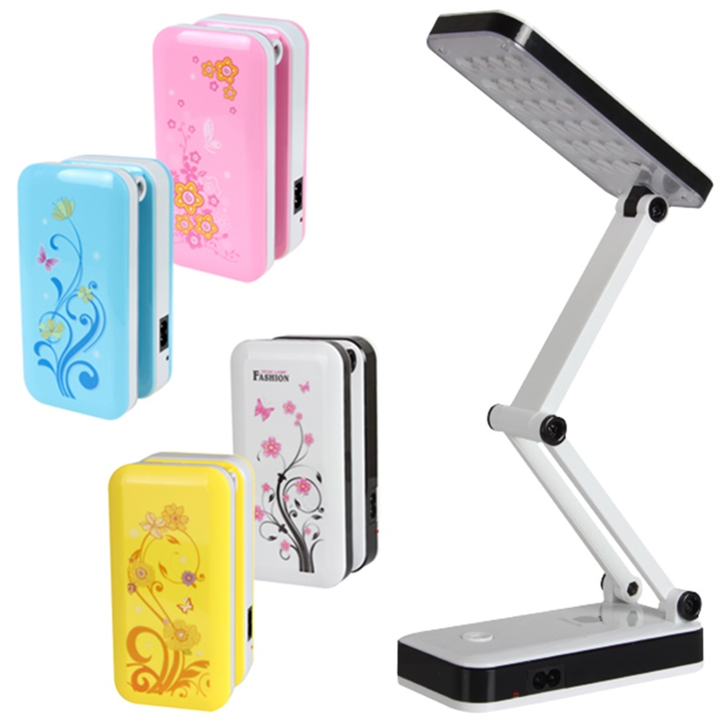 AC90V ~ 240V Foldable and Adjustable Built-in Battery Desk / Table Lamp with 8 or 24 LEDs On for Study Reading