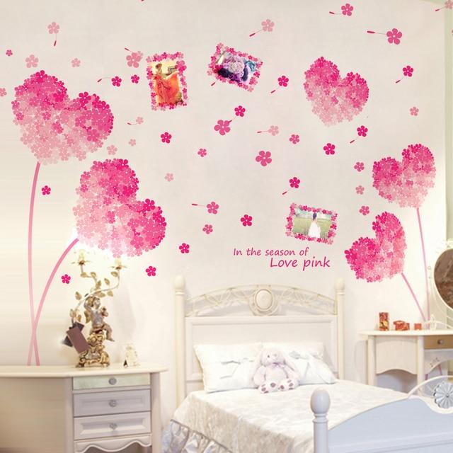 SHIJUEHEZI] Hot Koop Roze Bloemen Muurstickers Fotolijst Wall Art ...