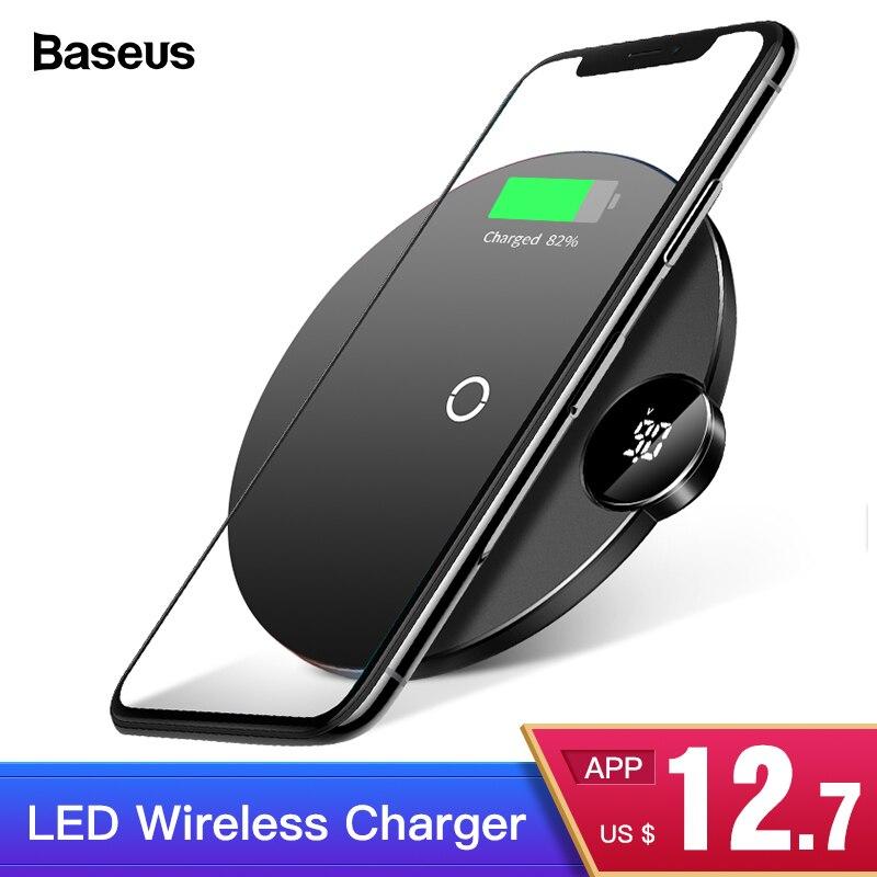 Baseus Display LED Carregador Sem Fio Qi Para o iphone Xs Max XR X 8 10 w Wirless Rápida Almofada de Carregamento Sem Fio para Samsung Xiaomi MIX 3