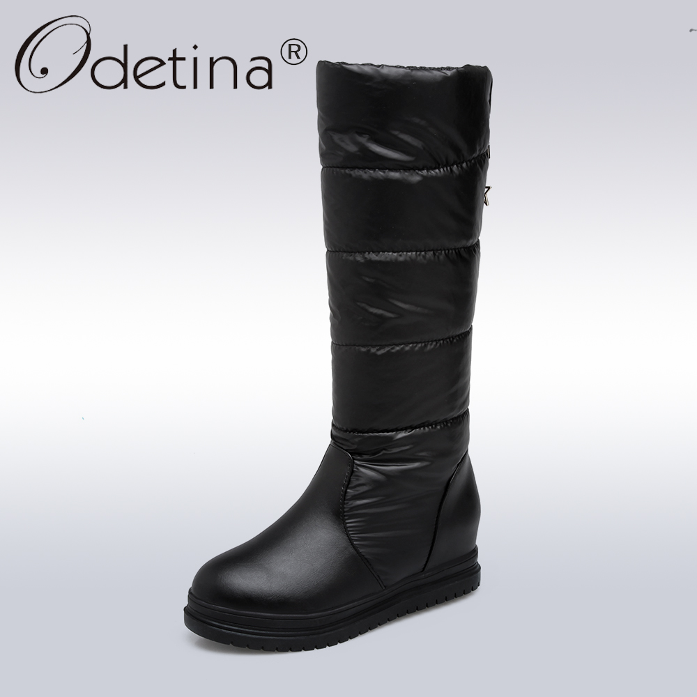 Odetina 2017 Fashion Women Snow Boots Increasing Height Hidden Heel Platform Mid Calf Boots Down Thick Plush Winter Warm Shoes woman winter warm platform height increasing slip on snow boots fashion round toe dress calf boots black pink white