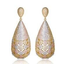 Серьги подвески dazz женские трехцветные висячие ювелирные украшения