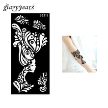 1 Piece Hollow Henna Tattoo Stencil For Beauty Female Women Flower Airbrush Painting Body Art Tattoo Template 9.5 x 18.5cm S2111