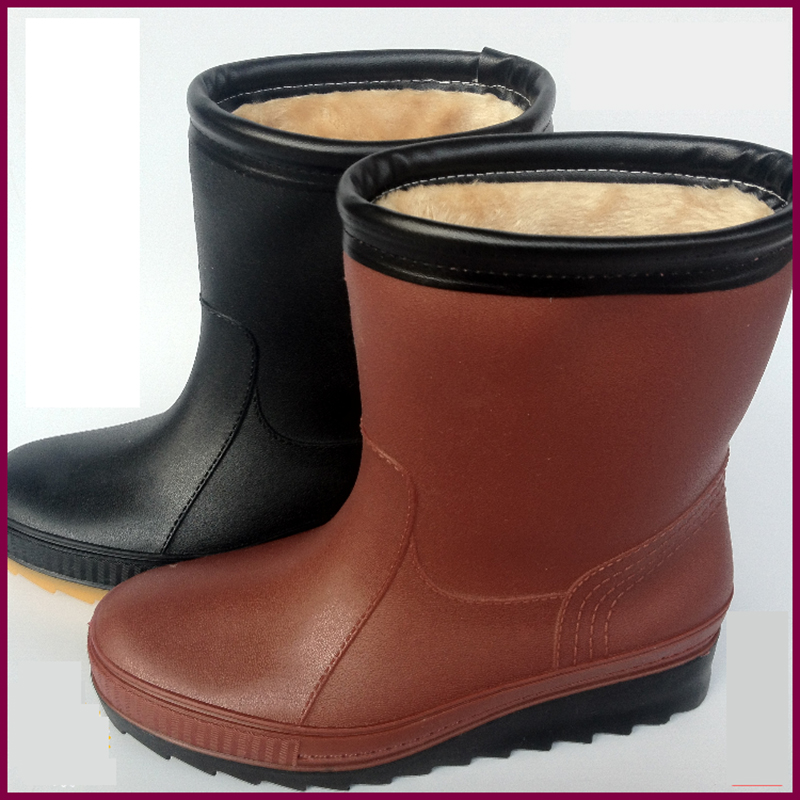 2016 light rain boot for woman short barrel galoshes with cotton and wool boots boots lady slip snow shoes water shoes bot